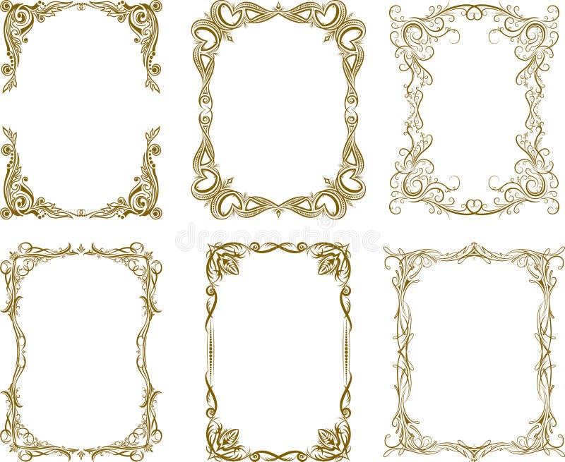 Set sześć wektorowych ram w bogatych brown gamma ilustracja wektor