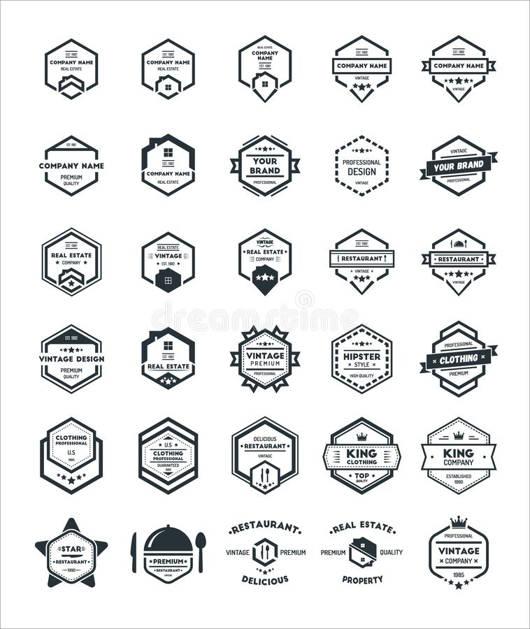 30 set sześciokąta rocznika modnisia odznaki loga projekta szablon ilustracji