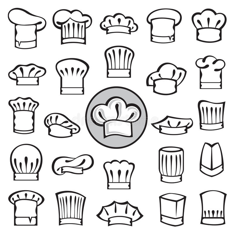 Set szefów kuchni kapelusze ilustracji