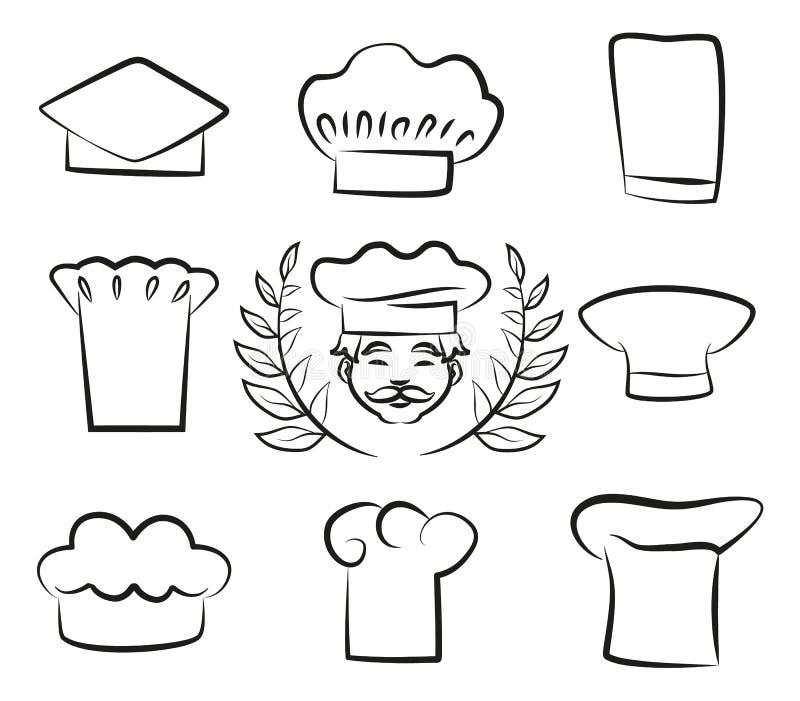 Set szefów kuchni kapelusze z Kucbarskim mężczyzna w Białym Headwear ilustracji