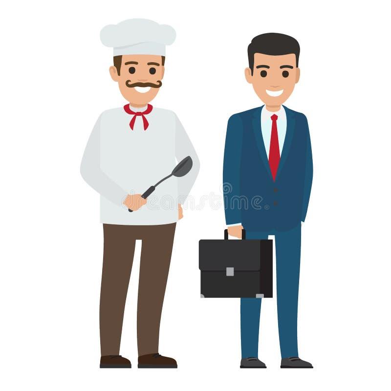 Set szefa kuchni kierownik i jedzenie Uśmiechnięci Persons ilustracja wektor