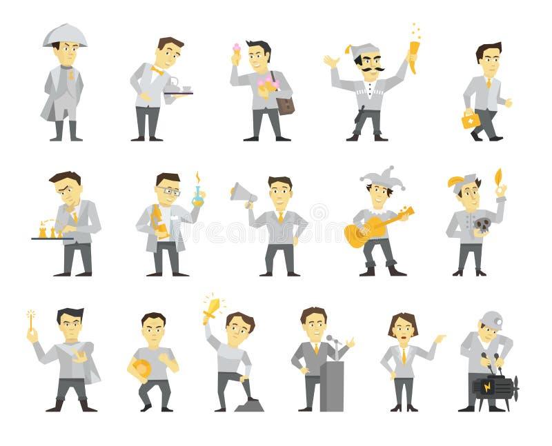 Set szesnaście charakteru różny projekt Głośnikowy polityk i wiele inny Płaskiego koloru ilustraci wektorowy zapas royalty ilustracja