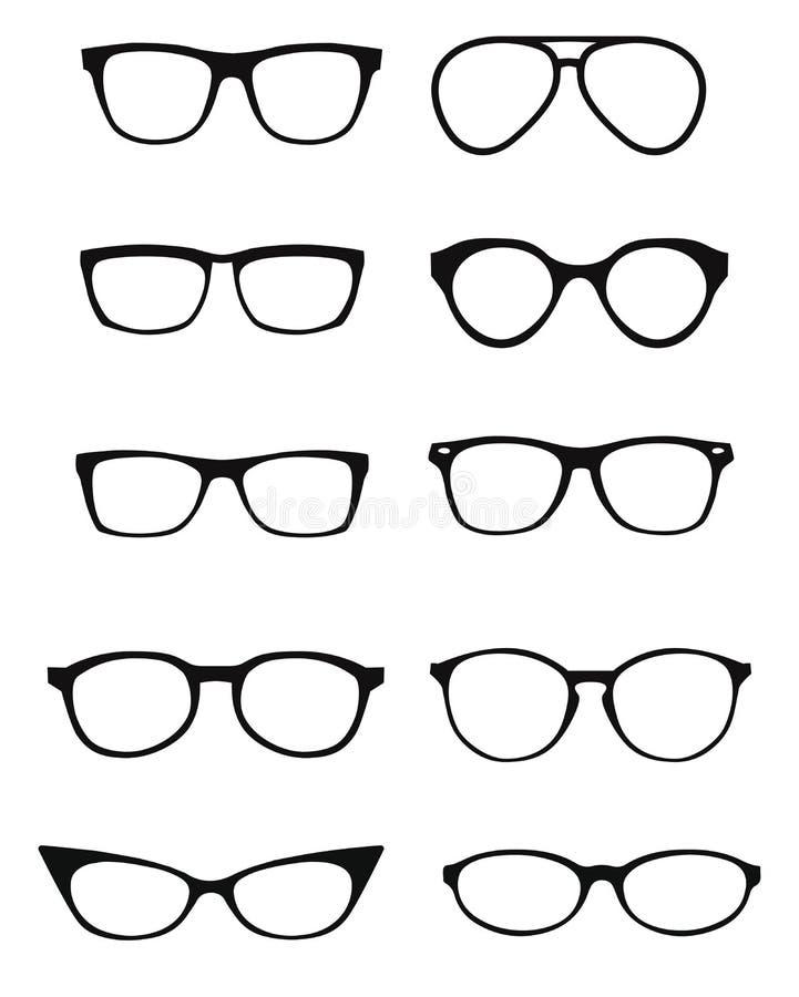 Set szkła odizolowywający Wektorowych szkieł wzorcowe ikony Okulary przeciwsłoneczni, szkła, odizolowywający na białym tle sylwet ilustracji