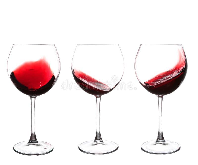 Set szkła z czerwonym winem zdjęcia stock