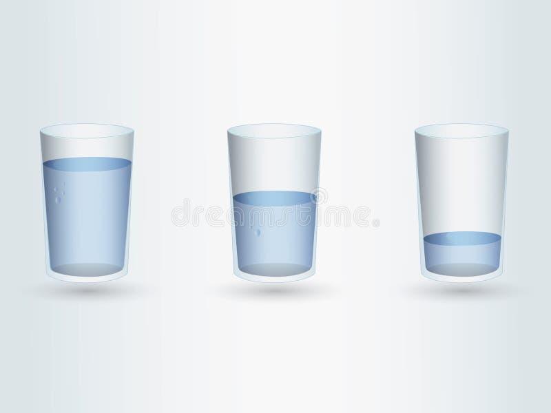 Set szkła z różnymi poziomami wody na bławym tle royalty ilustracja