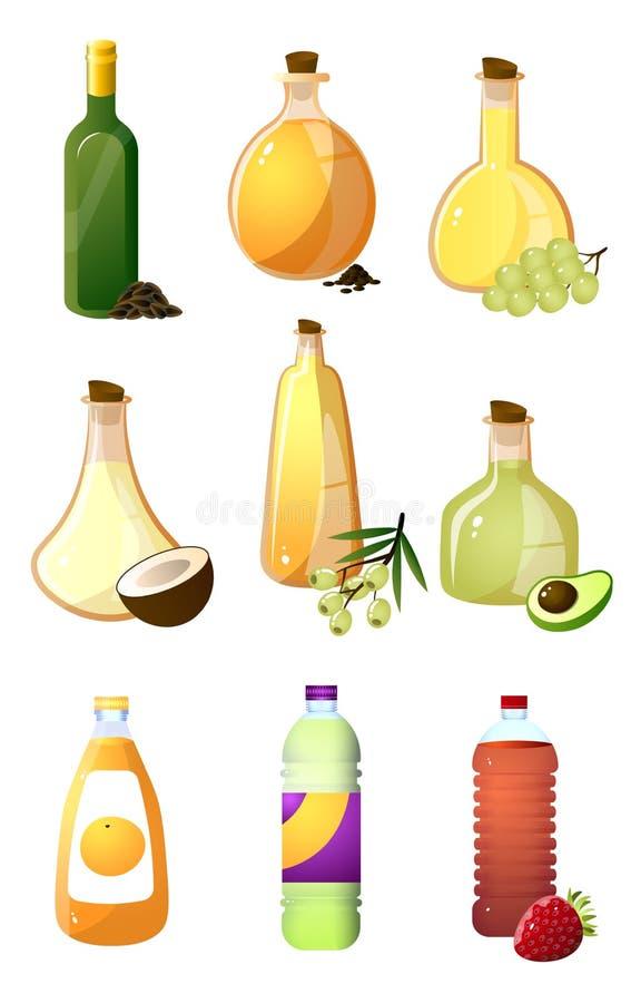 Set szklana butelka różny olej lub ocet dla kuchni ilustracji