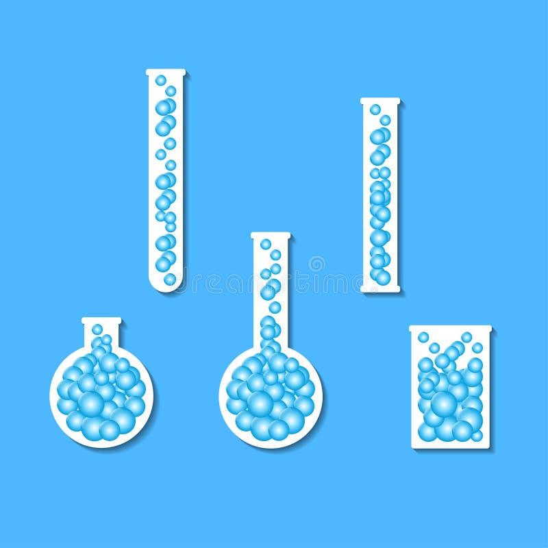 Set szklane kolby, chemii butelki i próbne tubki, ilustracja wektor
