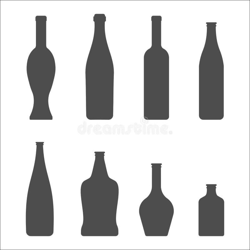 Set Szklanych butelek wektoru ikony Wino, piwo ilustracji