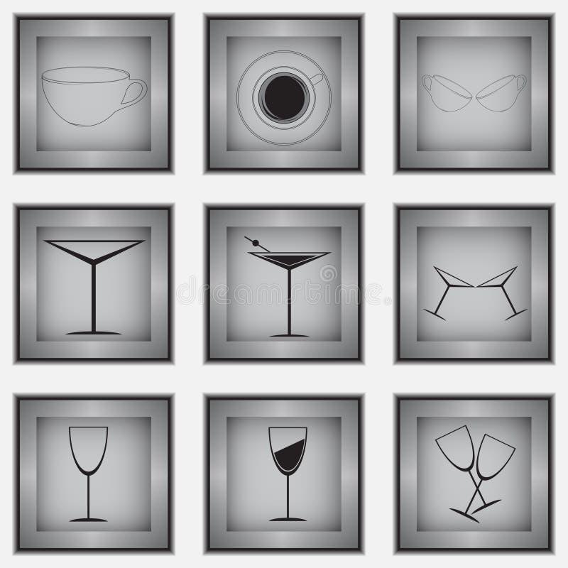 Download Set 9 szklanych ikon ilustracja wektor. Obraz złożonej z ikona - 31033088