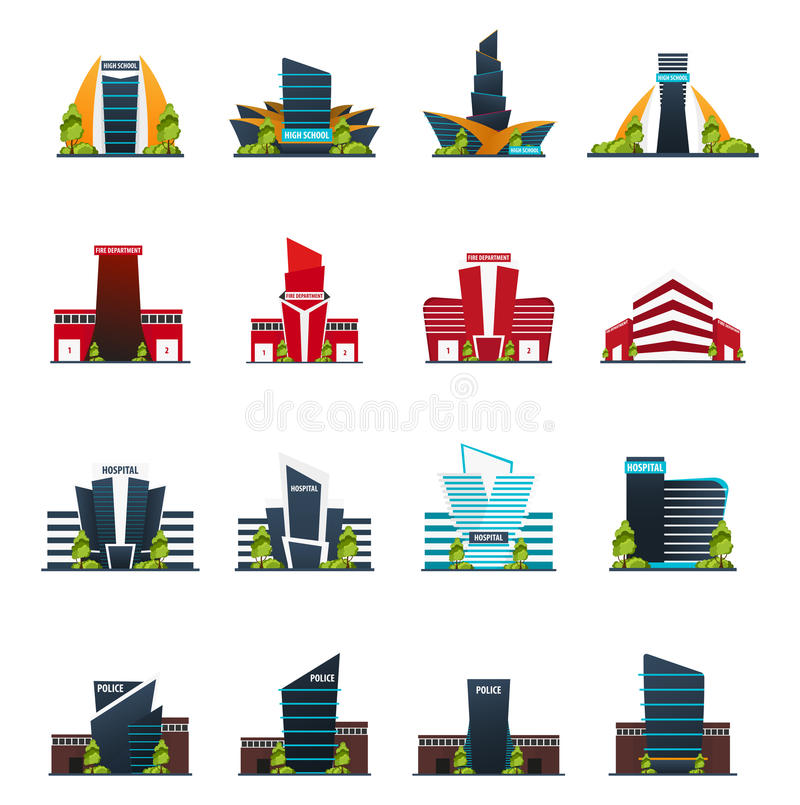 Set szkoła średnia, Pożarniczy dział, szpital i policja, Nowożytny budynek w mieszkanie stylu odizolowywającym na białym tle ilustracji