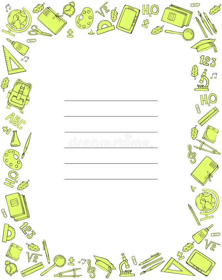 Set szkolne dostawy Próbki pokrywa dla notatnika r?wnie? zwr?ci? corel ilustracji wektora ilustracji