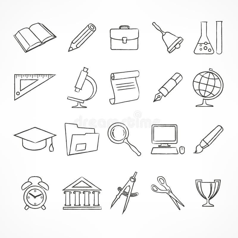 Set szkolne ikony na bielu ilustracji