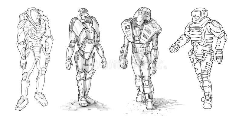 Set Szorstcy atramentów rysunki Różnorodni charaktery w fantastyka naukowa kostiumu ilustracji