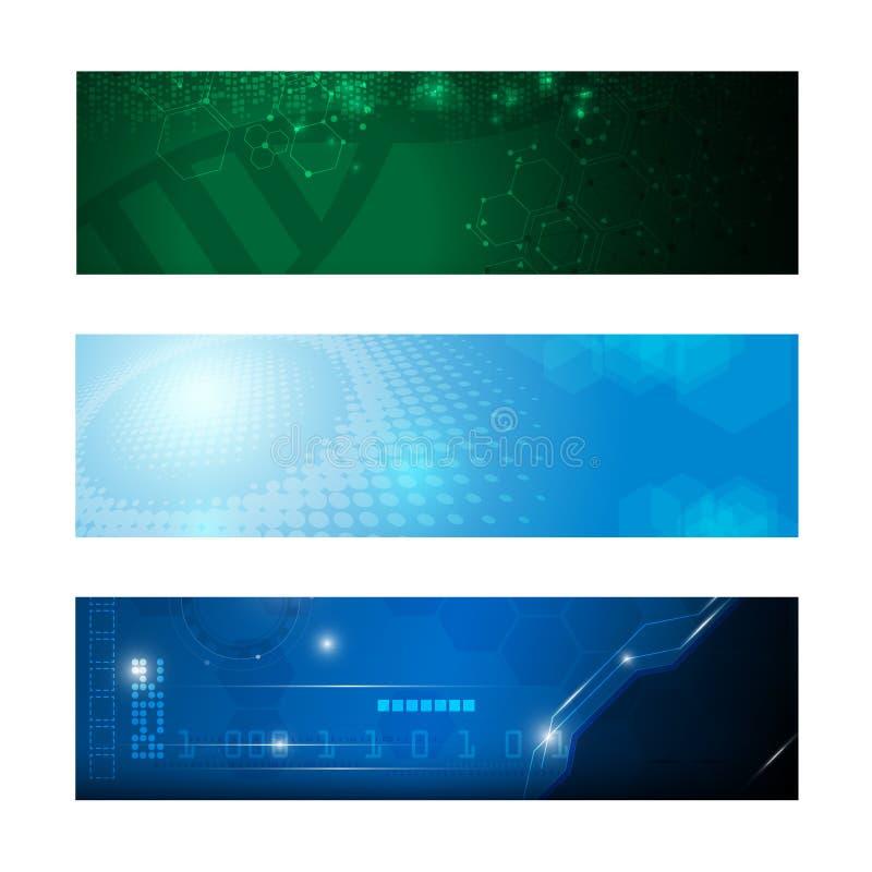 Set 3 sztandarów technologii innowaci pojęcie design04 royalty ilustracja