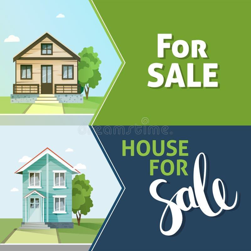 Set sztandar własności sprzedaż 3d tła rodziny domu ilustraci odosobniony biel royalty ilustracja