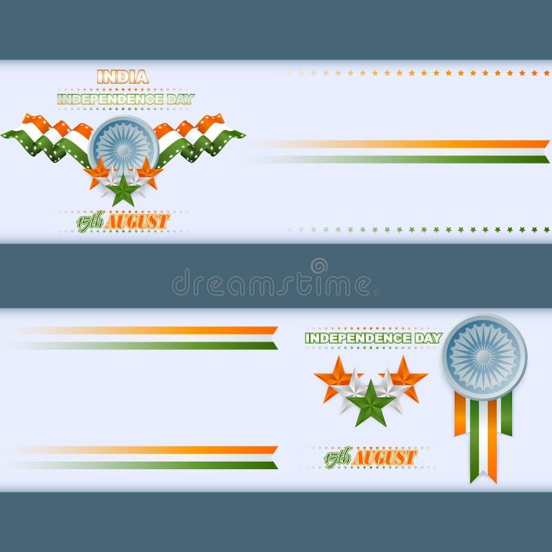 Set sztandaru projekt z pomarańcze, biel, zieleni Ashoka i gwiazdy, i toczymy dla świętowania Indiański dzień niepodległości royalty ilustracja