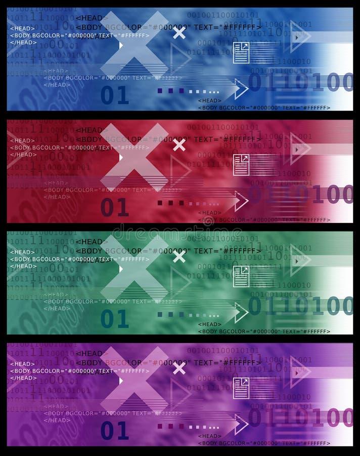 Set sztandaru wizerunek, Internetowe ikony/, strzała, HTML kod - Czerwony Błękitnej zieleni fiołek ilustracji