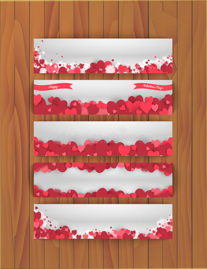 Set sztandary dla St walentynek dnia z abstrakcjonistycznym tłem serca royalty ilustracja