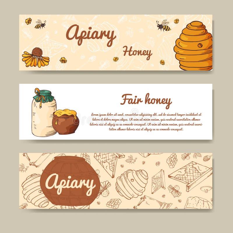 Set sztandary dla uczciwego miodu Naturalny helthy jedzenie projekta świeża ilustracyjna naturalna wektoru woda twój ilustracja wektor