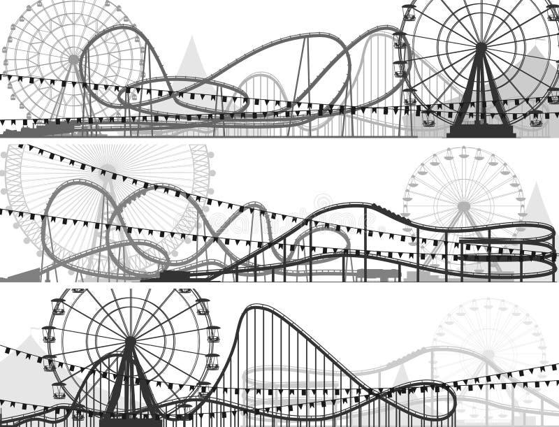 Set sztandary kolejka górska i Ferris koło. ilustracji
