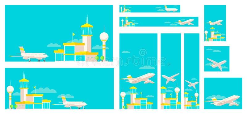 Set sztandary lotniskowy śmiertelnie budynek i samolot royalty ilustracja