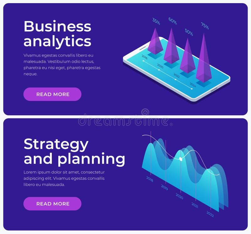 Set sztandary na temacie strategii planować i biznesowa analiza Wizerunek dorośnięcie mapy, pieniężni wykresy ilustracji