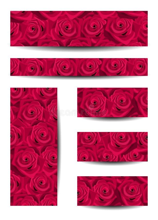 Set sztandary z czerwonymi różami. royalty ilustracja