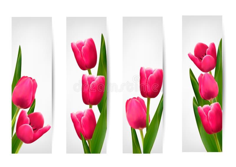 Set sztandary z menchia kwiatem. ilustracji
