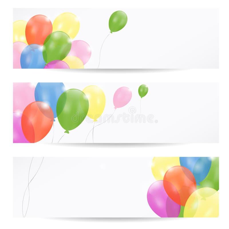 Set sztandary z partyjnymi balonami,  ilustracji