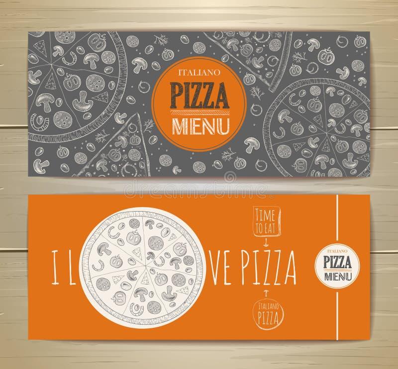 Set sztandary z pizzą ilustracji