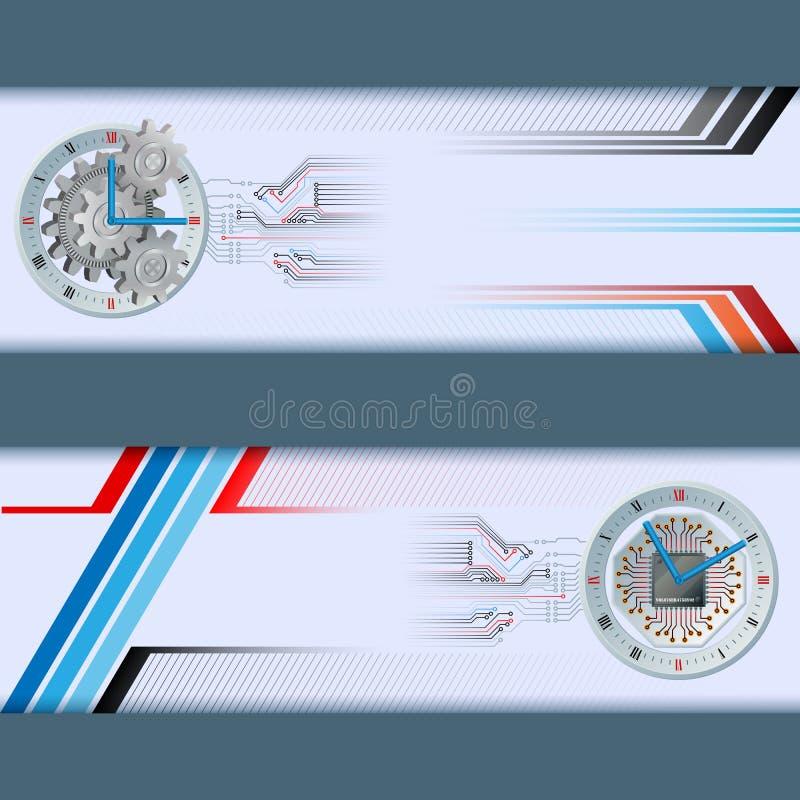 Set sztandary z rodzajowym, elektronicznym, i mechanikiem osiąga ilustracji