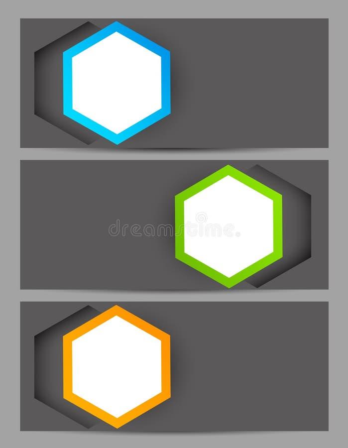 Set sztandary z sześciokątami ilustracja wektor