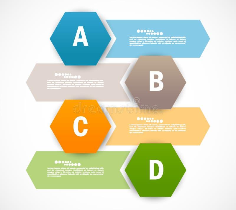 Set sztandary z sześciokątami. Infographic projekt ilustracji