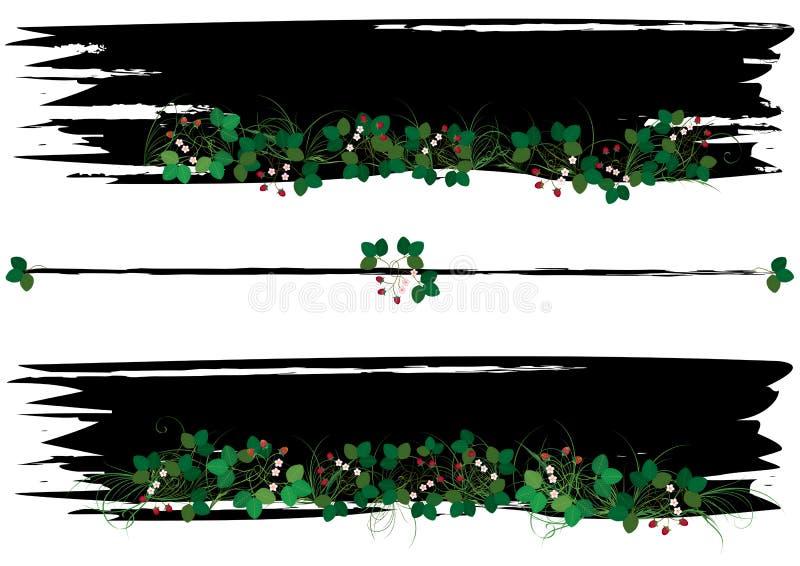 Set sztandary z truskawką ilustracja wektor