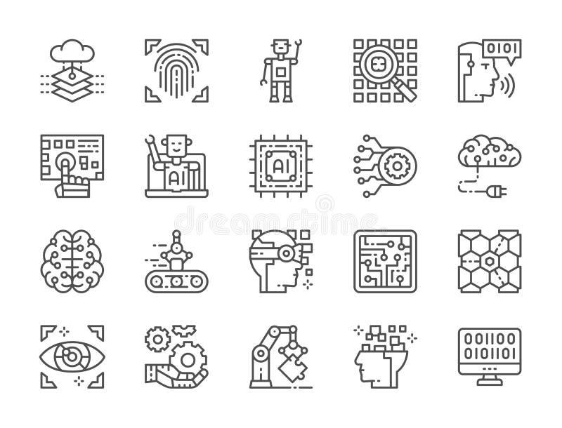 Set Sztucznej inteligencji linii ikony Chatbot, Big Data, baza danych i więcej, royalty ilustracja