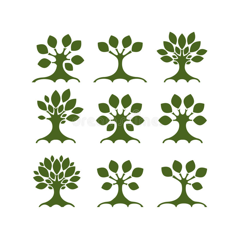 Set sztuk drzewa dla twój projekta royalty ilustracja