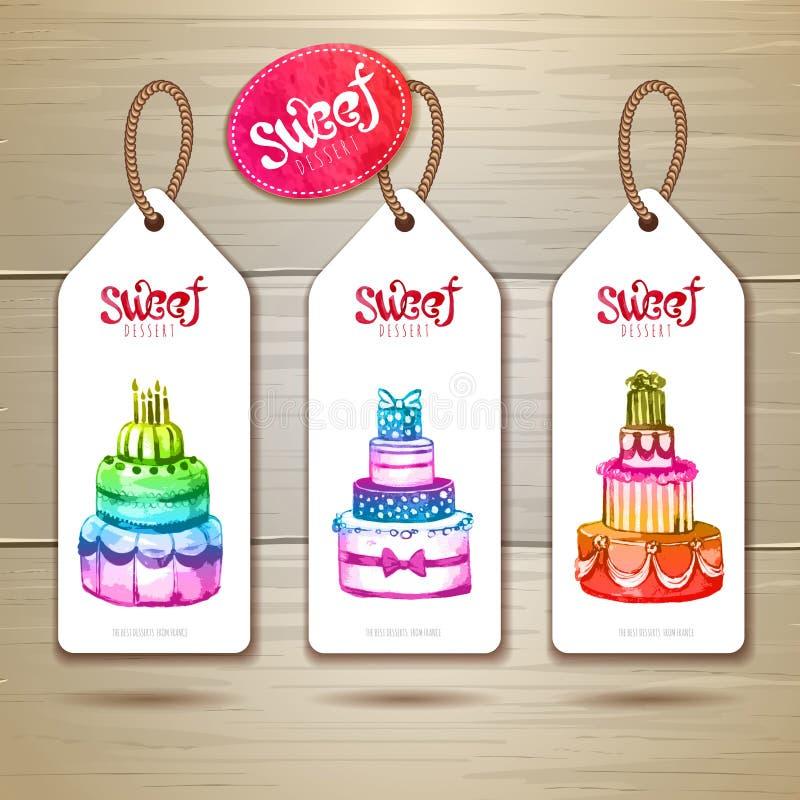 Set sztuka tortowi lub deserowi sztandary etykietka projekt royalty ilustracja
