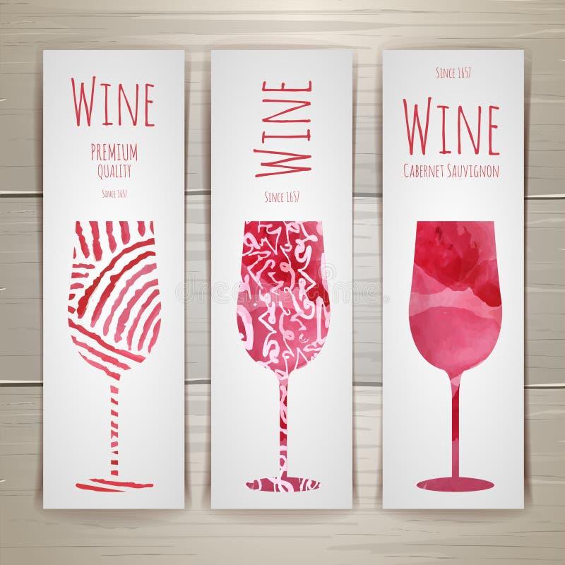 Set sztuki wina etykietki i sztandary ilustracja wektor