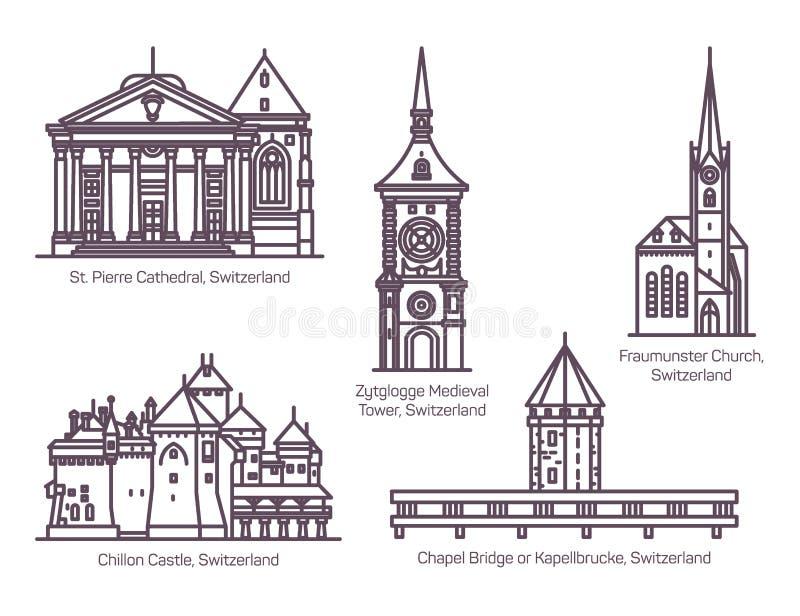 Set Szwajcaria architektury budynki w linii ilustracji