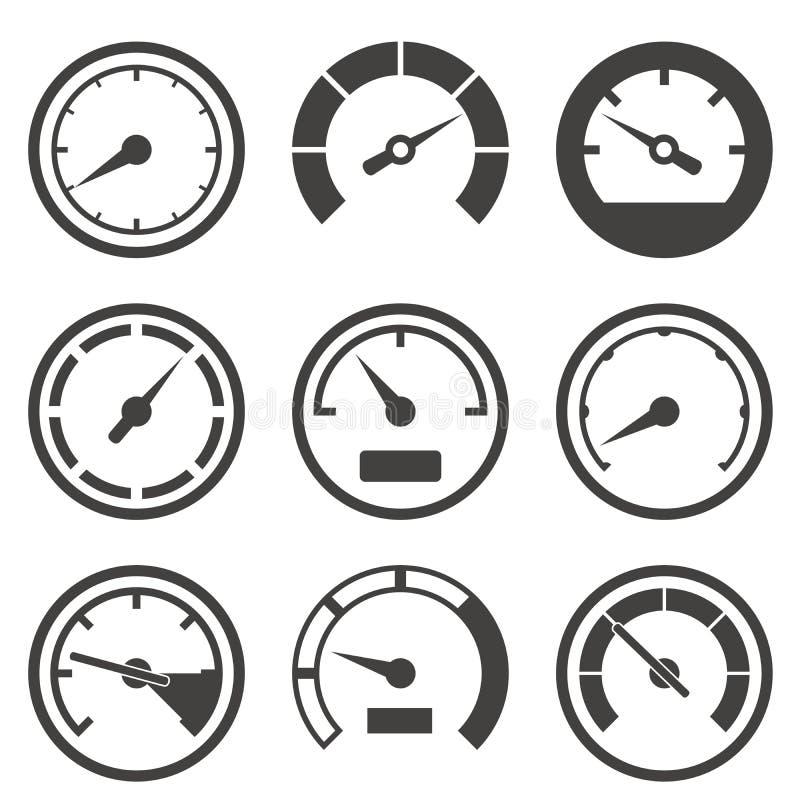 Set szybkościomierze i deska rozdzielcza przyrząda royalty ilustracja