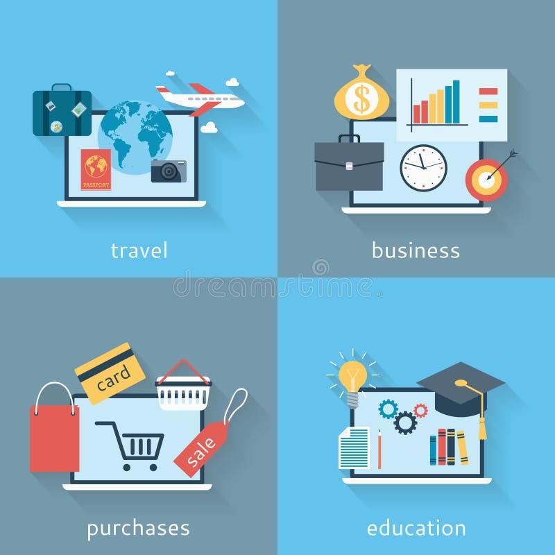 Set tła nowożytny płaski projekt podróżować, biznes, zakupy i edukacja, ilustracja wektor