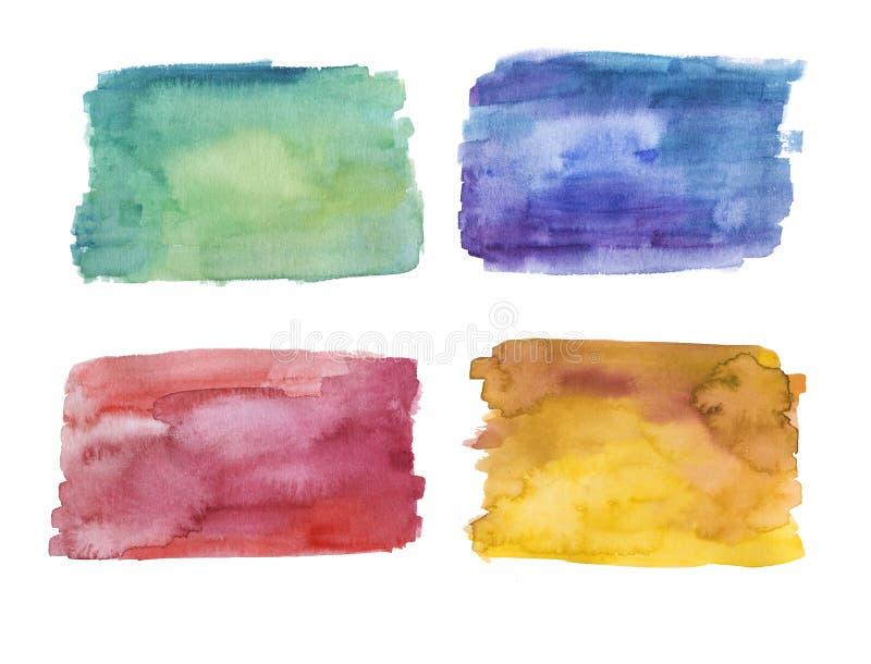Set tła, zieleń, błękit, czerwień i kolor żółty ręki malujący akwareli, royalty ilustracja