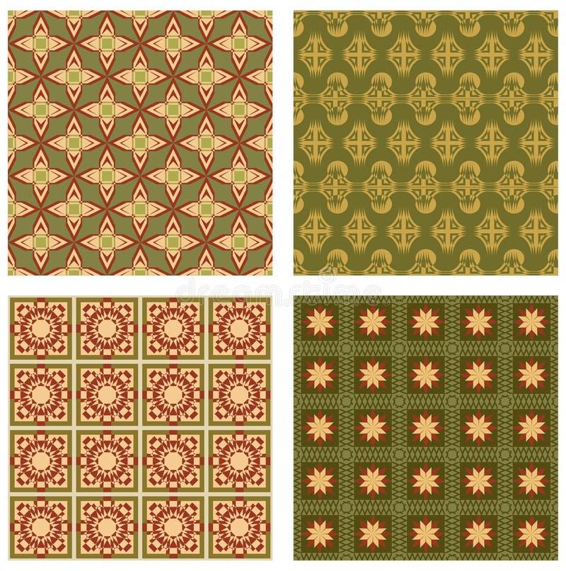 Set tło płytki w art deco stylu z prostymi geometrycznymi wzorami w beżu, czerwieni i zieleni koloru nostalgicznym cieniu, royalty ilustracja