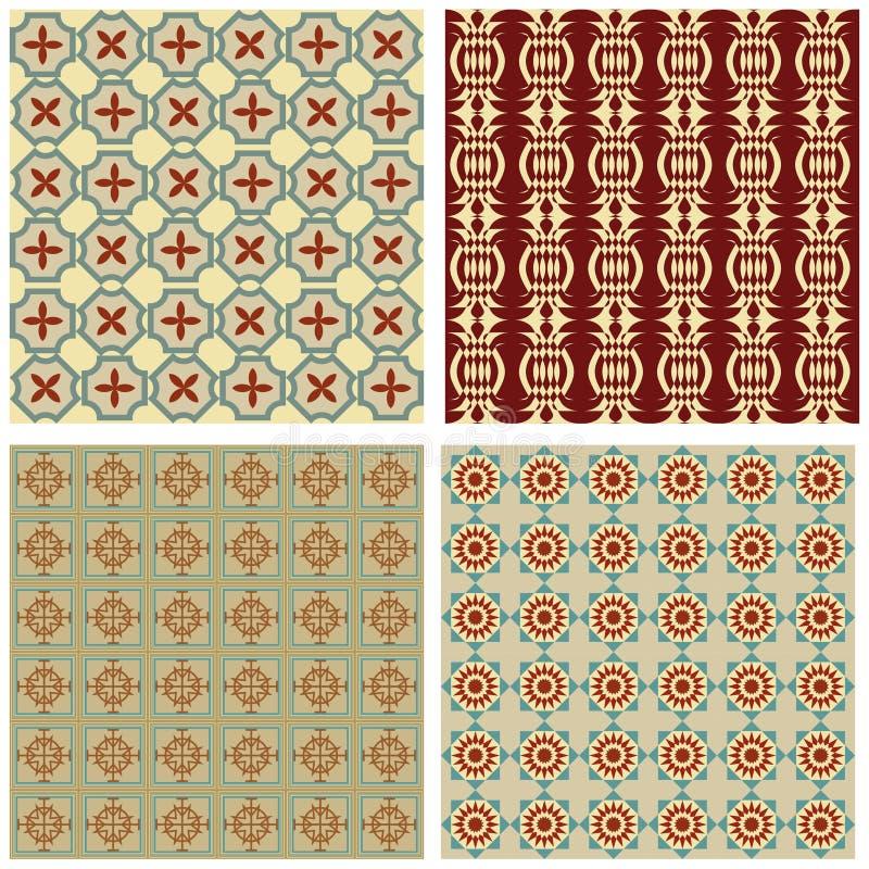 Set tło płytki w art deco stylu z prostymi geometrycznymi wzorami w beżu, czerwieni i zieleni nostalgicznym kolorze, ilustracja wektor