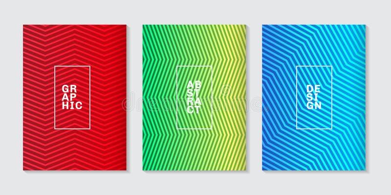Set tło pokryw minimalnego projekta gradientu linii abstrakcjonistyczny chłodno halftone wzór Przyszłościowy geometryczny szablon ilustracja wektor