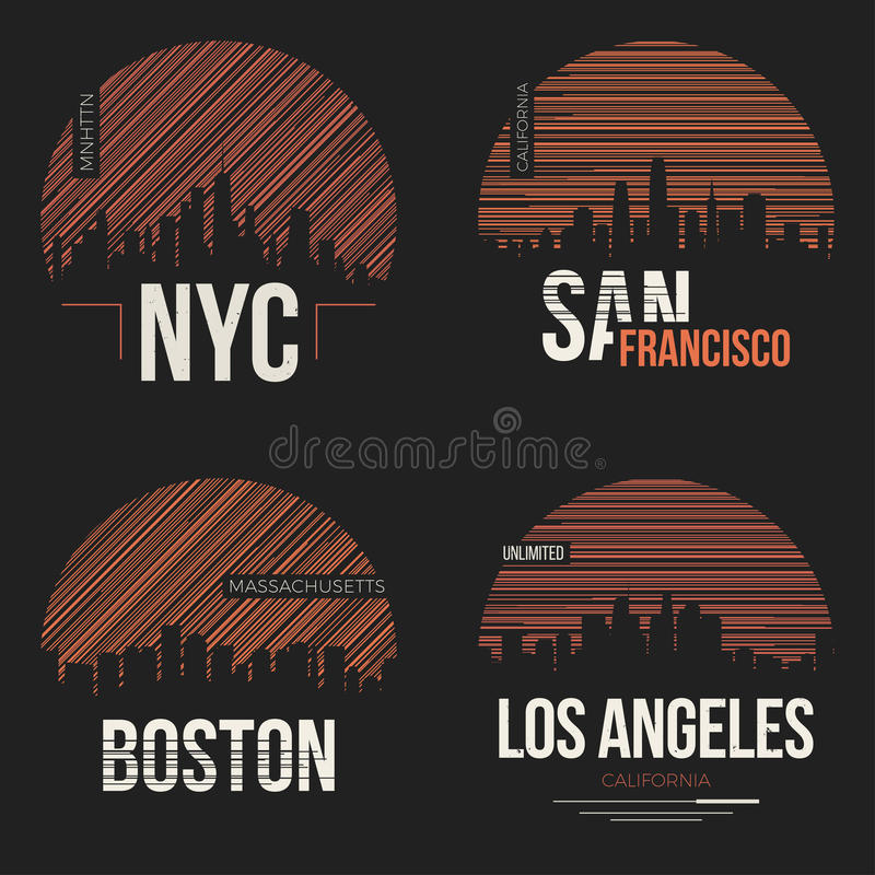 Set of t-shirt designs with us cities silhouettes royalty free illustration
