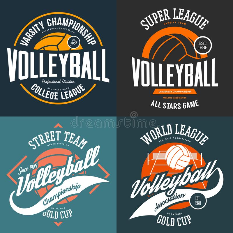 Sport t-shirt prints for volleyball players. Set of t-shirt logo designs for volleyball players. Sport signs for club or center advertising or university royalty free illustration