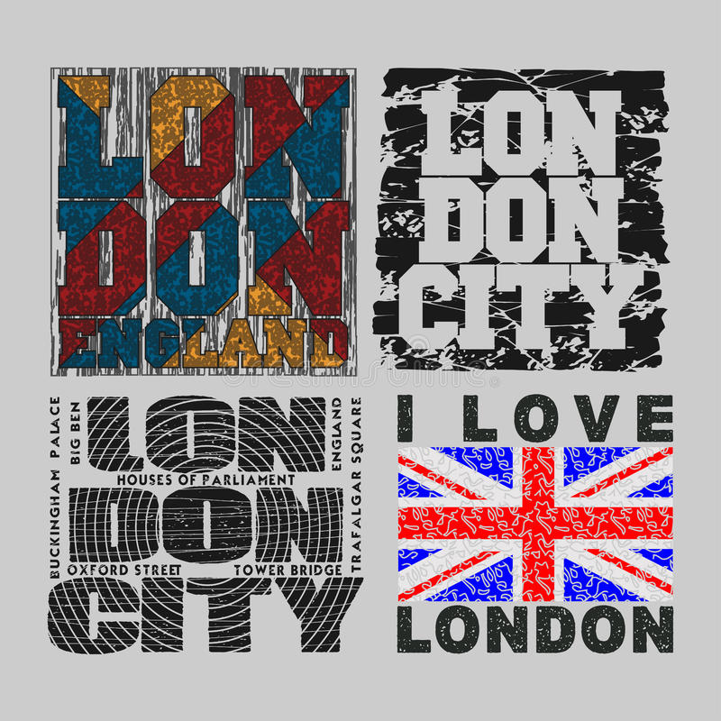 Set T-shirt London, design, fashion, typography stock illustration
