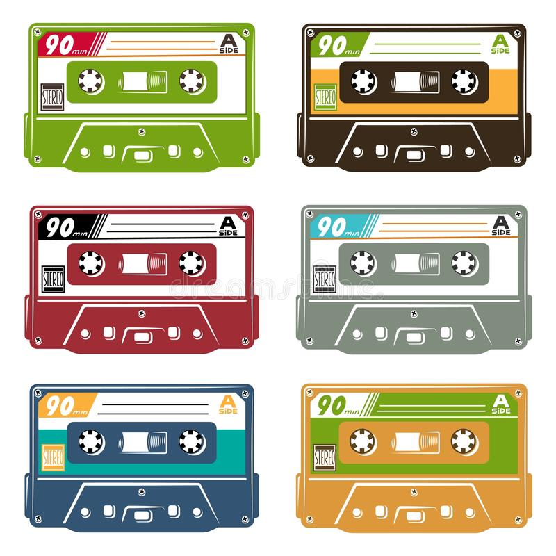 Set taśmy kaseta royalty ilustracja