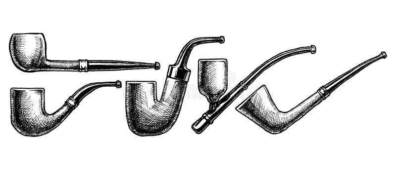 Set tabaczne drymby na białym tle royalty ilustracja